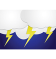 Storm clouds with yellow lightning bolts vector