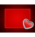 Red shiny heart shape on card vector