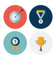 Flat circle career success icons set vector