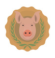 Butchery logo pig head in laurel wreath no outline vector