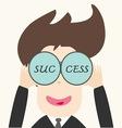 Business man looking success vector