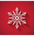 Snowflake icon with long shadow on red background vector