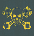 Skull and pistons t-shirt graphic vector