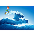 A little boy surfing at the sea vector