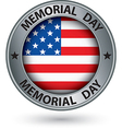 Memorial day silver label with usa flag vector