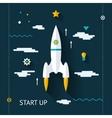 Retro flat design space launch start up concept vector