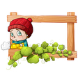 A frame with a child and a green plant vector