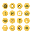 Set of flat colorful camping equipment symbols and vector
