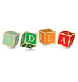 Word idea written with alphabet blocks vector