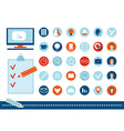 Back to school flat design school icon set on a vector