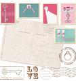 Set of wedding postage stamps vector