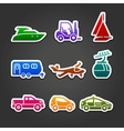 Set labels color transport icons vector