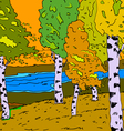 Autumn sunny landscape with forest river - vector