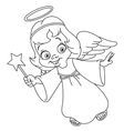 Outlined christmas angel vector