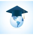 Earth planet with graduation cap vector