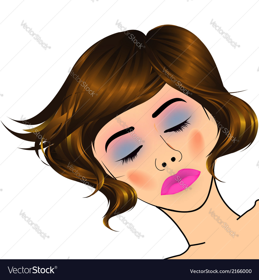 Beautiful lady with golden highlights on hair vector | Price: 1 Credit (USD $1)