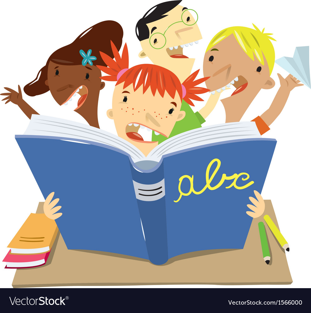Children who read at school vector | Price: 1 Credit (USD $1)