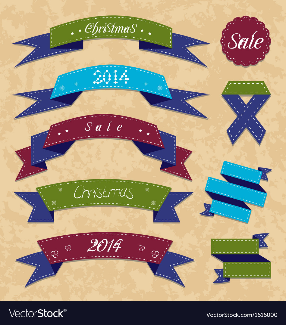Christmas collection variation labels and ribbons vector | Price: 1 Credit (USD $1)