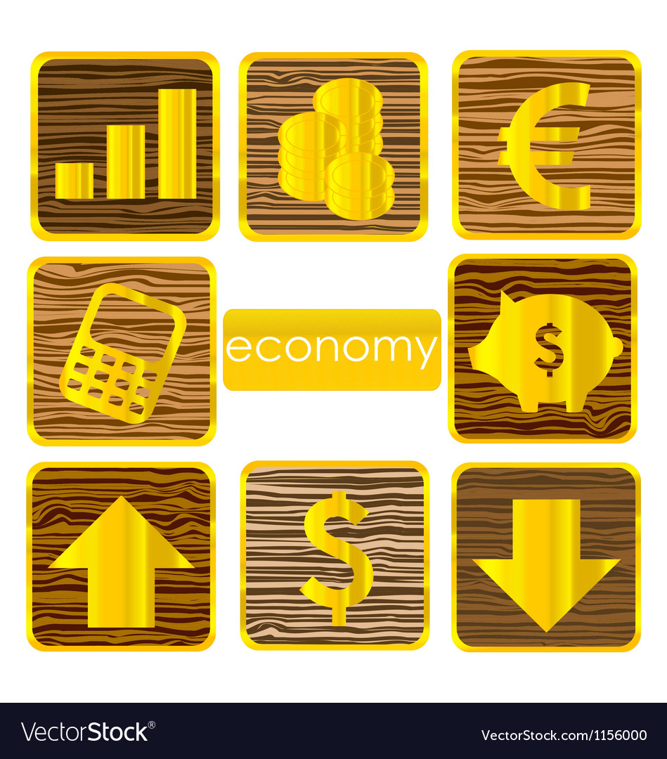 Gold finance symbols set isolated vector | Price: 1 Credit (USD $1)