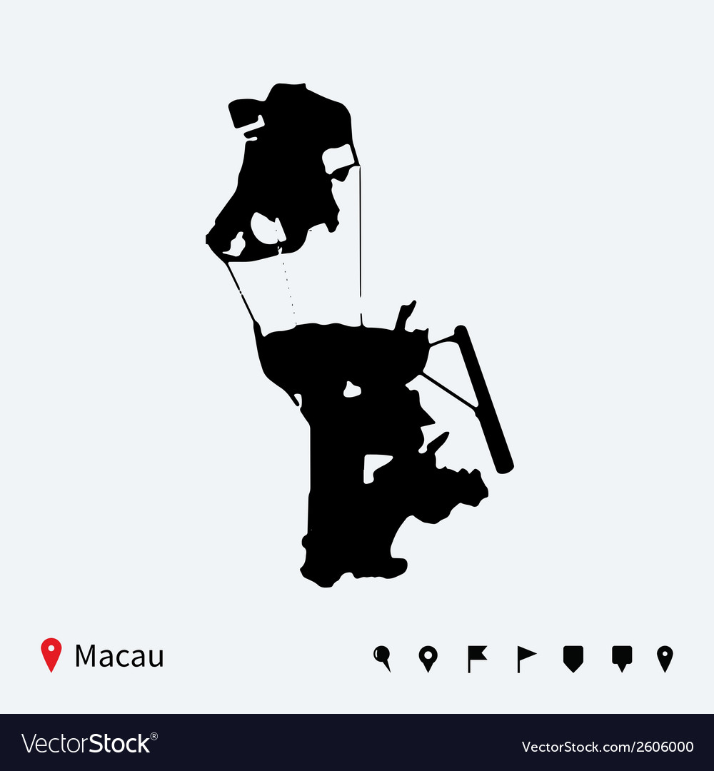High detailed map of macau with navigation pins vector | Price: 1 Credit (USD $1)