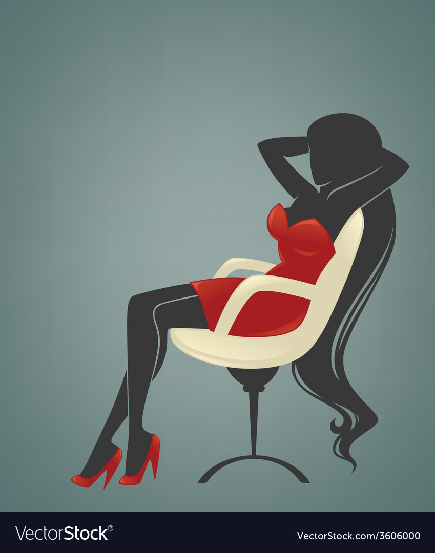 Office relaxing girl vector | Price: 1 Credit (USD $1)