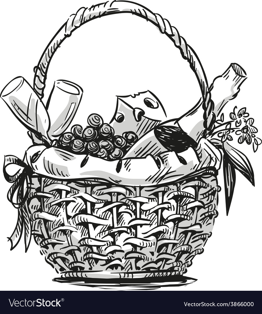 Picnic basket with snack vector | Price: 1 Credit (USD $1)