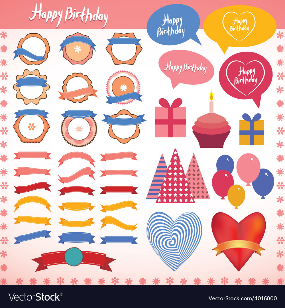 Set of vintage elements birthday holiday party vector | Price: 1 Credit (USD $1)