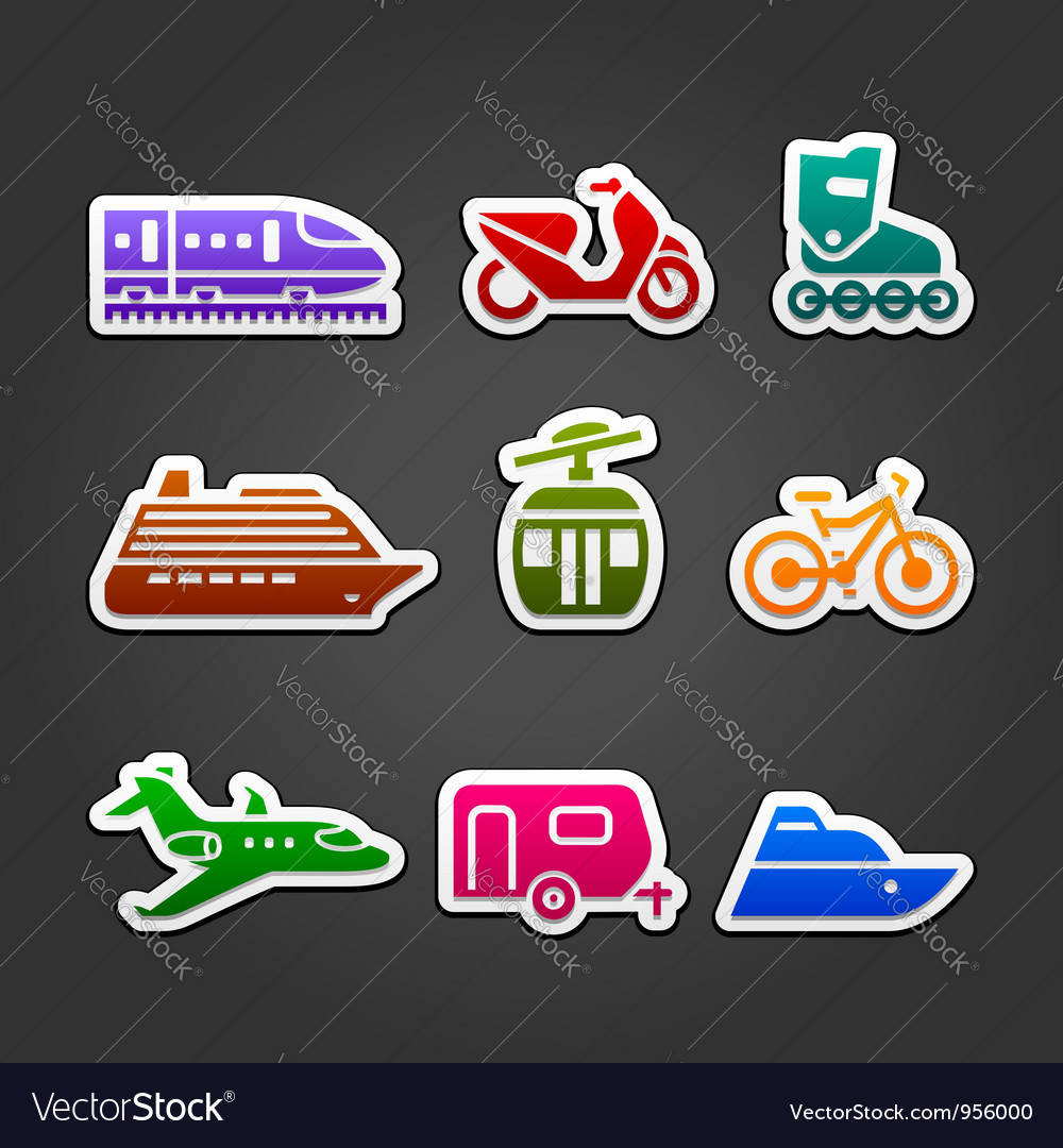 Set simple transportation color icons vector | Price: 1 Credit (USD $1)