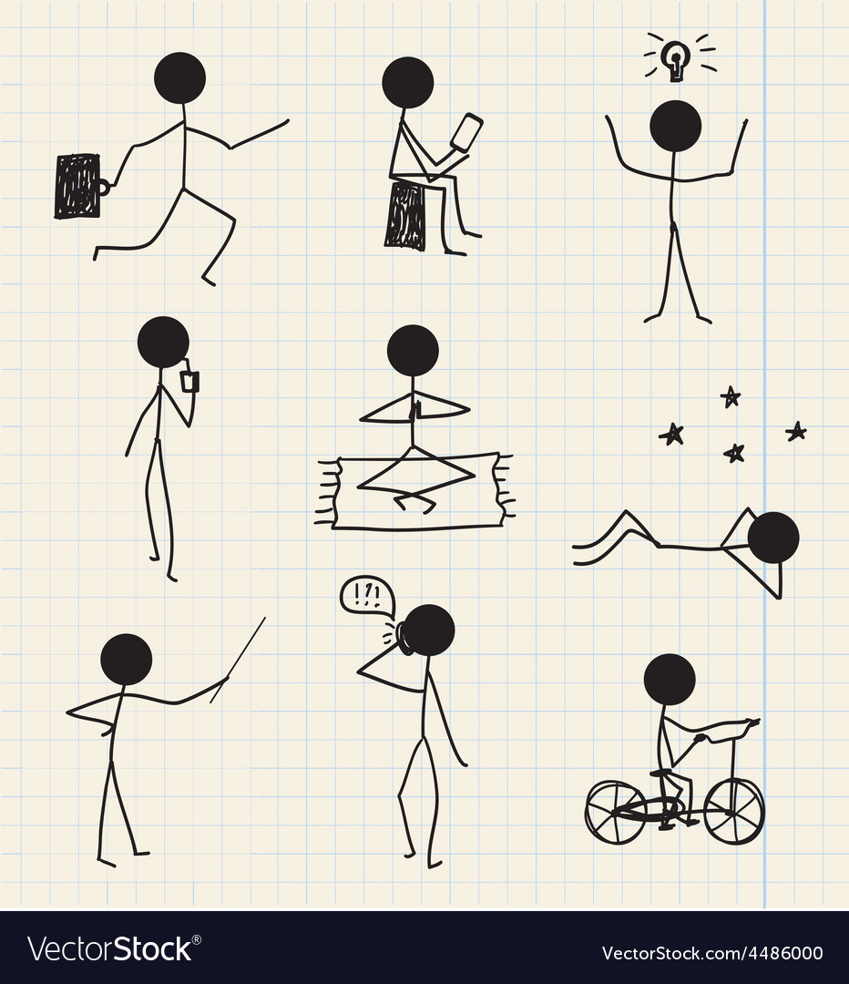 Stick man figure hand drawn daily life vector | Price: 1 Credit (USD $1)