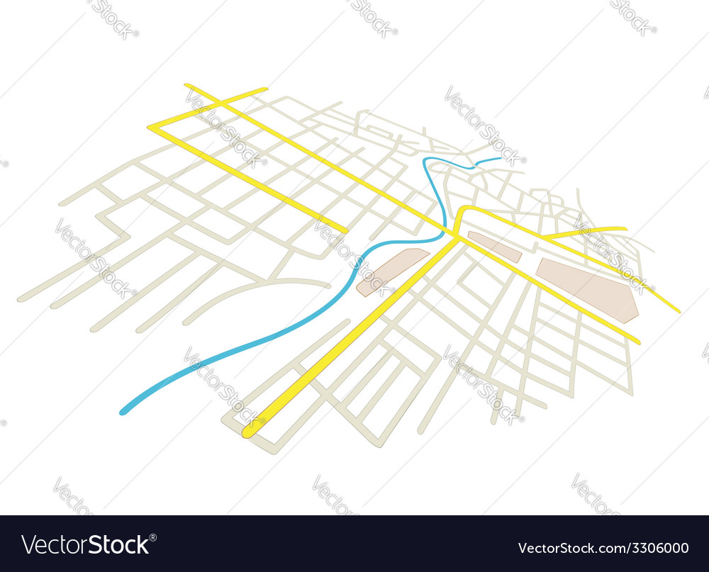 Streets on the city plan - in perspective vector | Price: 1 Credit (USD $1)