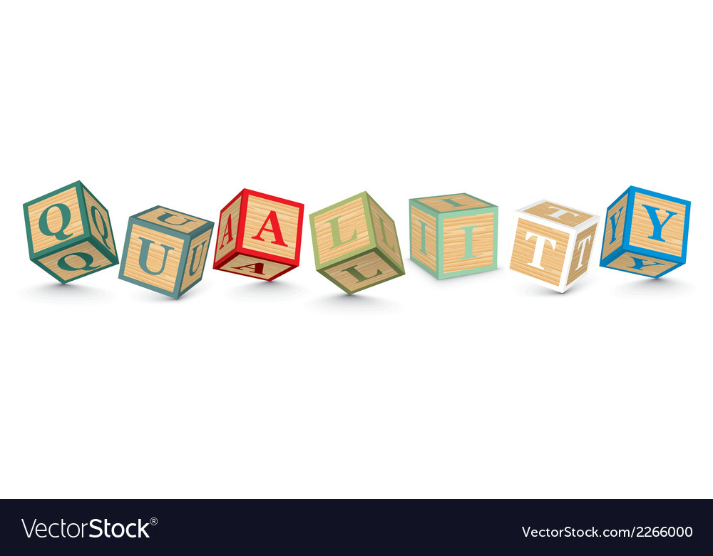 Word quality written with alphabet blocks vector | Price: 1 Credit (USD $1)