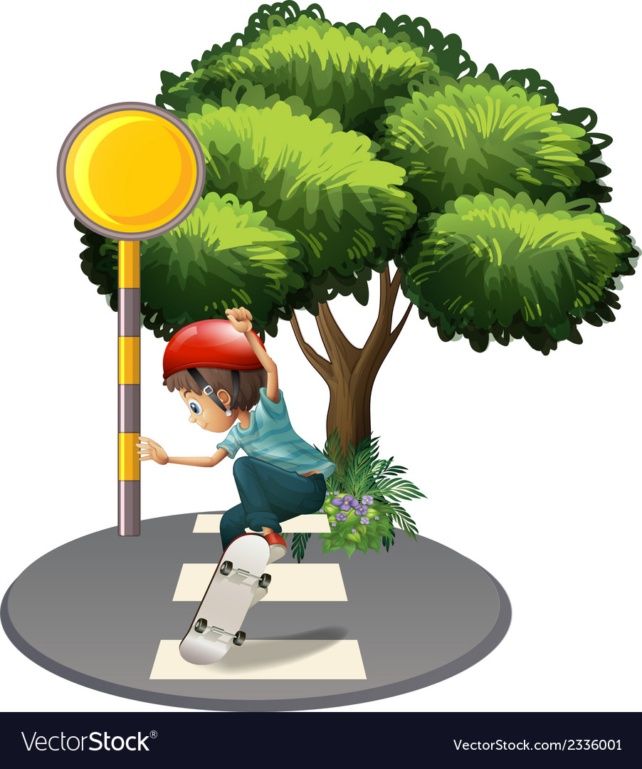 A boy skateboarding near the tree vector | Price: 3 Credit (USD $3)
