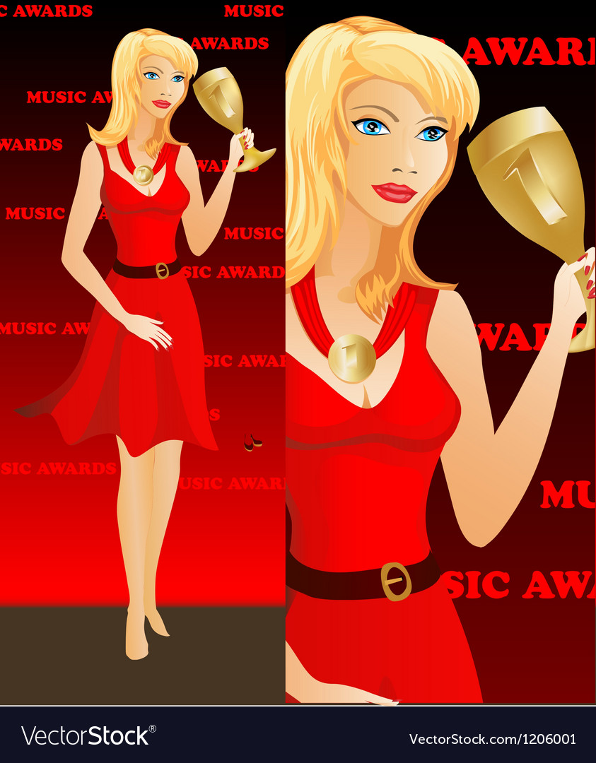 Celebrity woman winning an award golden cup vector | Price: 1 Credit (USD $1)