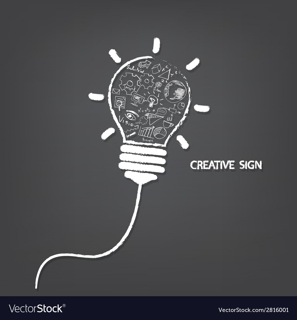 Creative light bulb handwriting style vector | Price: 1 Credit (USD $1)