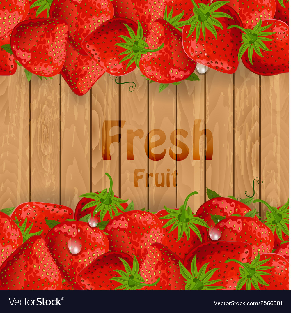 Fresh strawberries on a wooden texture for your vector | Price: 1 Credit (USD $1)