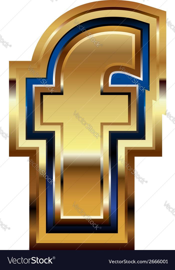 Golden font letter f vector | Price: 1 Credit (USD $1)