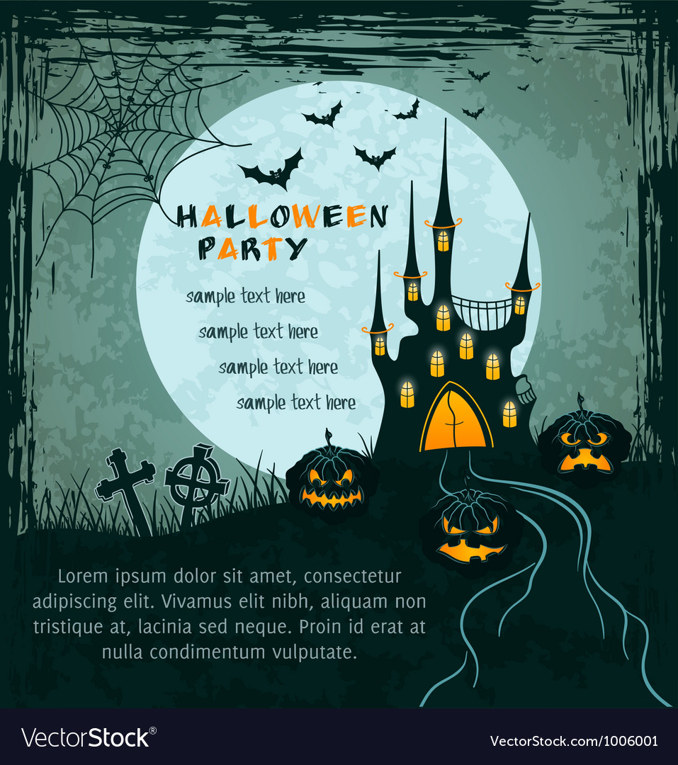 Green grungy halloween background with castle vector | Price: 1 Credit (USD $1)