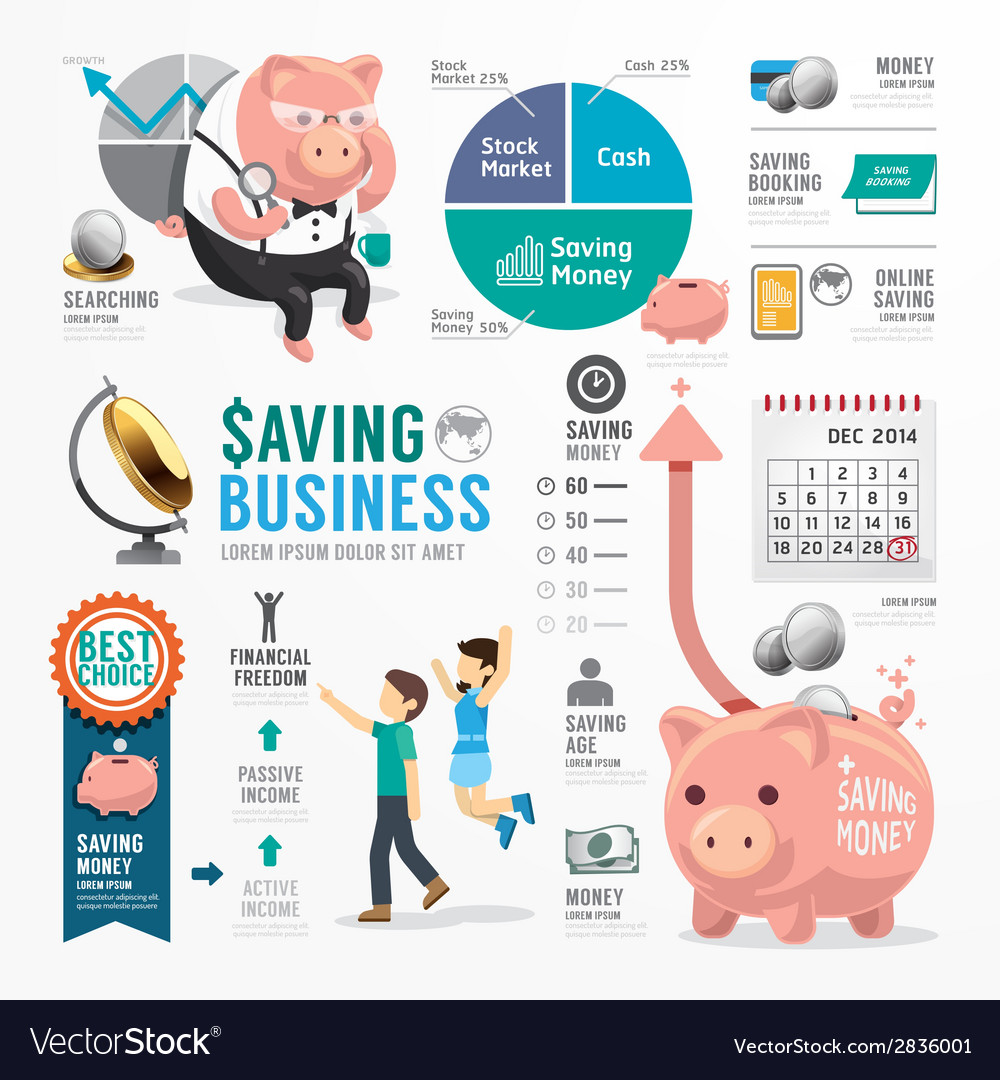 Money saving business template design infographic vector | Price: 1 Credit (USD $1)