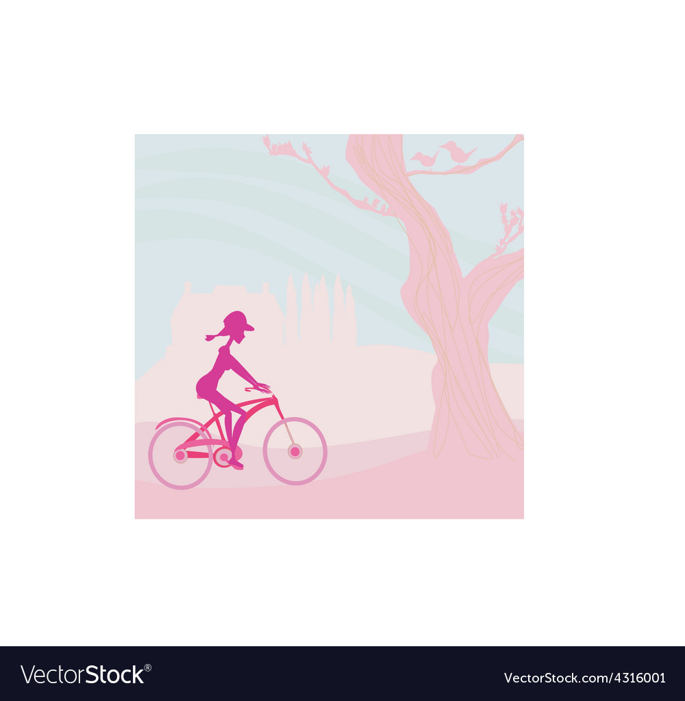 Slim woman with bicycle in a park vector | Price: 1 Credit (USD $1)