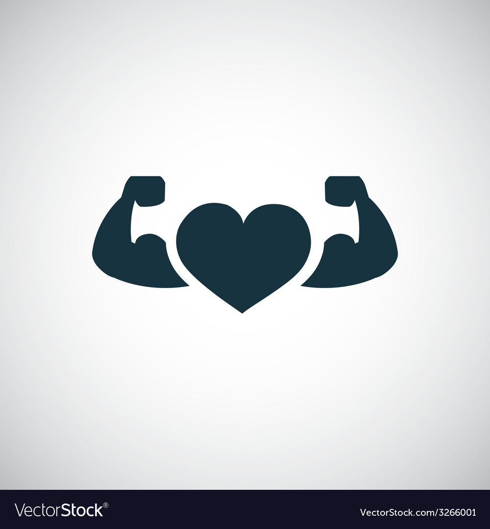 Strong health icon heart with muscle arms vector | Price: 1 Credit (USD $1)