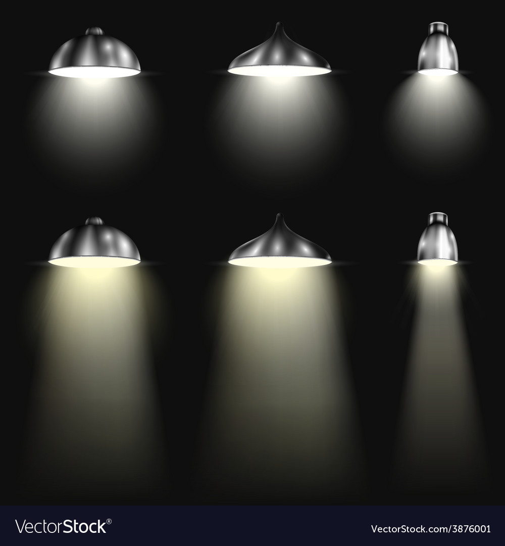 Three types of spotlights with beams vector | Price: 3 Credit (USD $3)