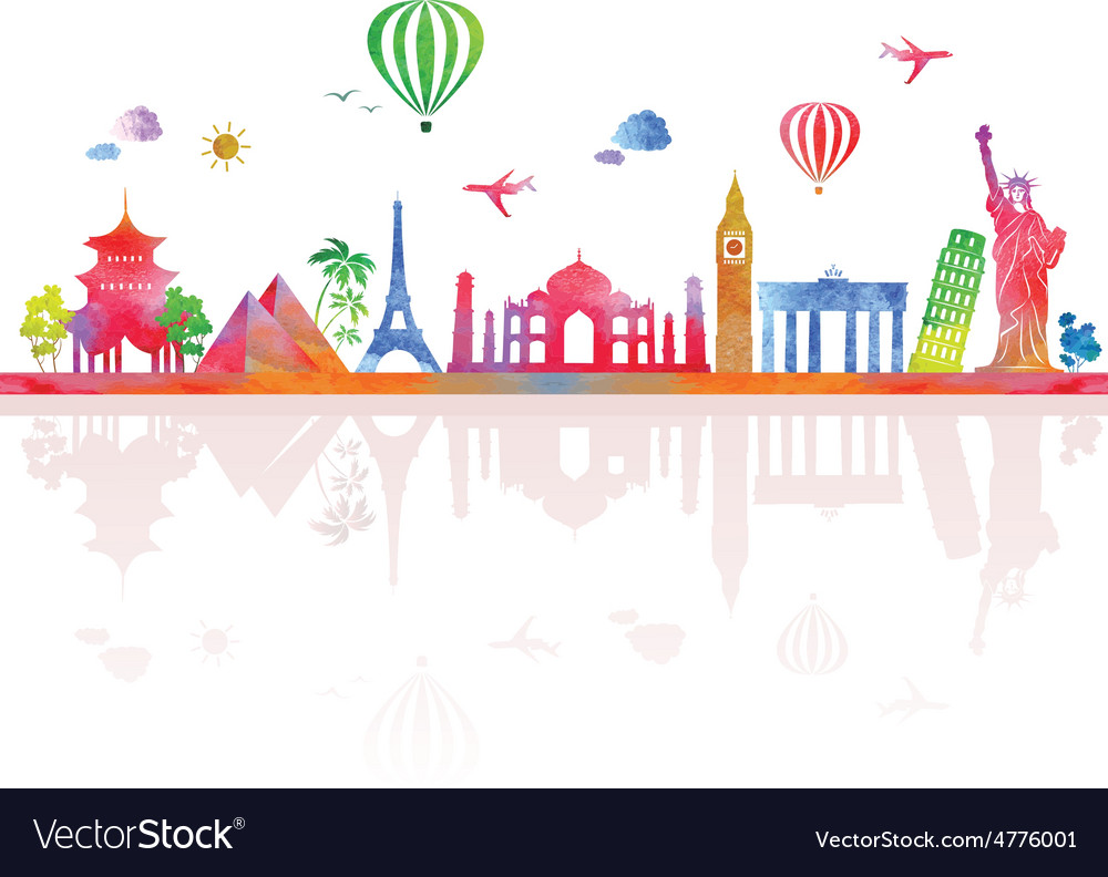 Travel and tourism banner with architecture vector | Price: 1 Credit (USD $1)