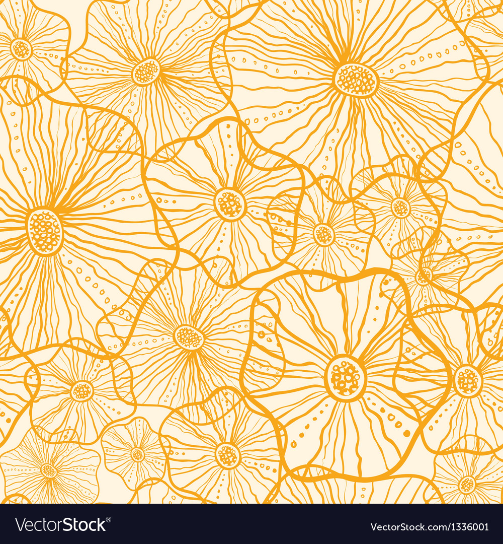 Yellow floral shapes seamless pattern background vector | Price: 1 Credit (USD $1)