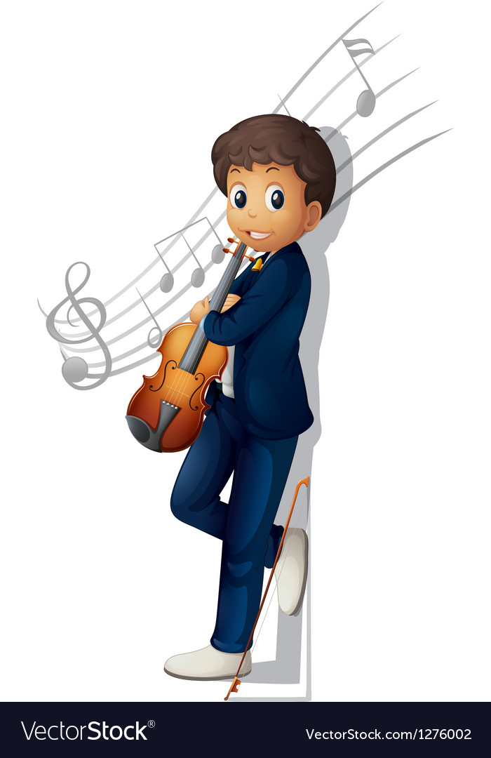 A musician with a violin and musical notes vector | Price: 1 Credit (USD $1)