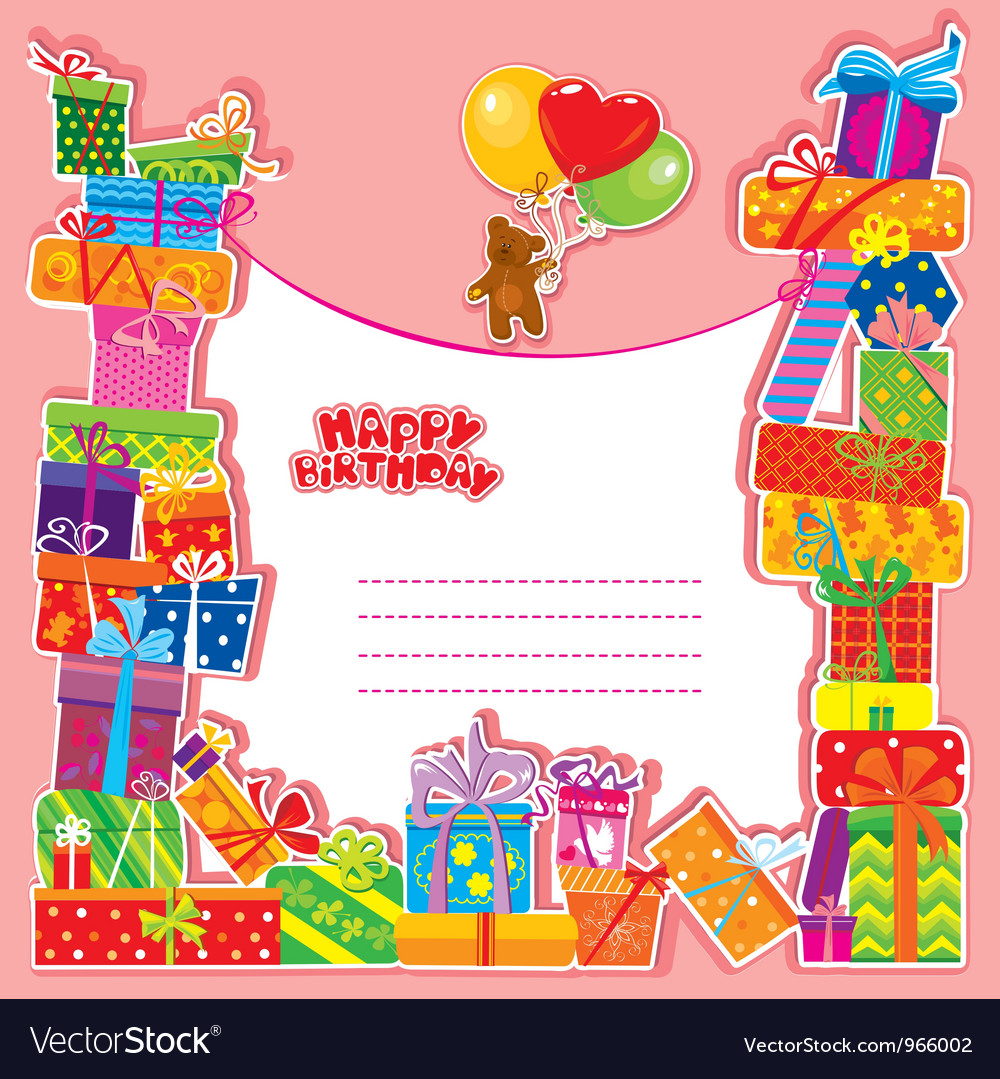 Baby birthday card with teddy bear and gift boxes vector | Price: 1 Credit (USD $1)