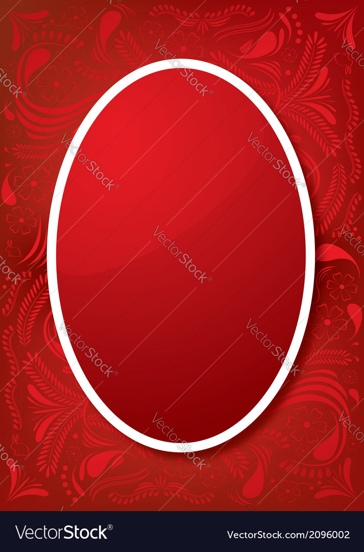 Easter greeting card with red egg and ornament vector   Price: 1 Credit (USD $1)