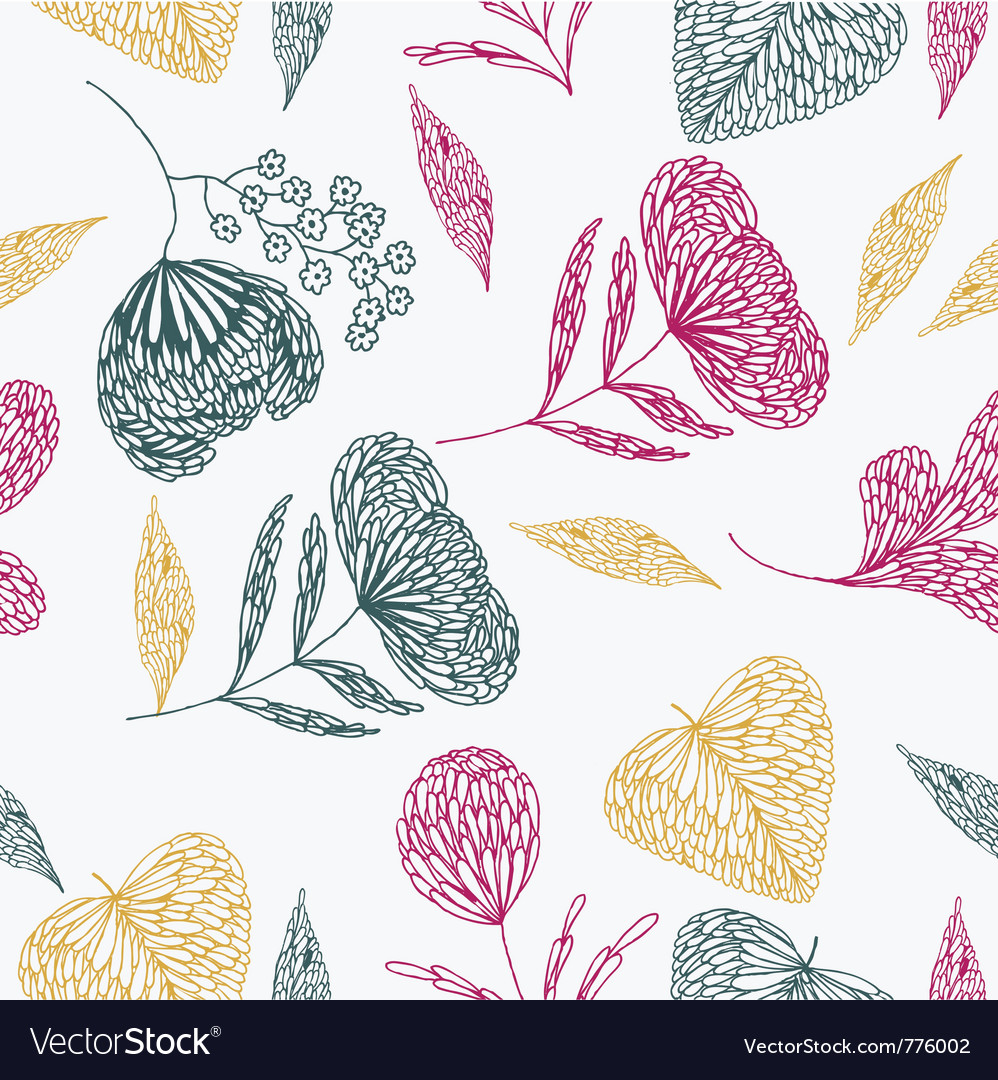 Flower line art background vector | Price: 1 Credit (USD $1)