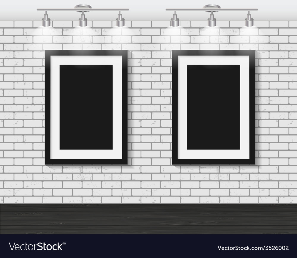 Frame on brick wall for your text and images vector | Price: 1 Credit (USD $1)
