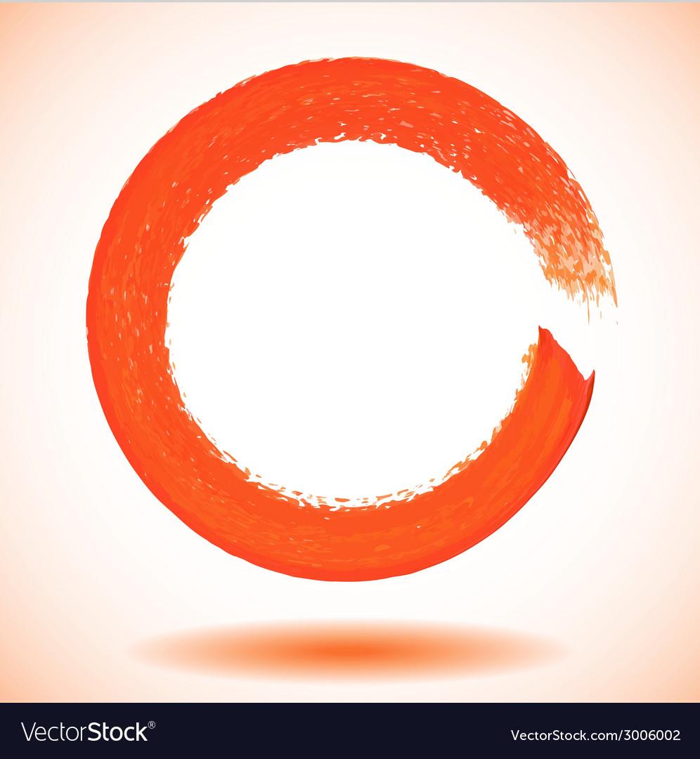 Orange paintbrush circle frame vector | Price: 1 Credit (USD $1)