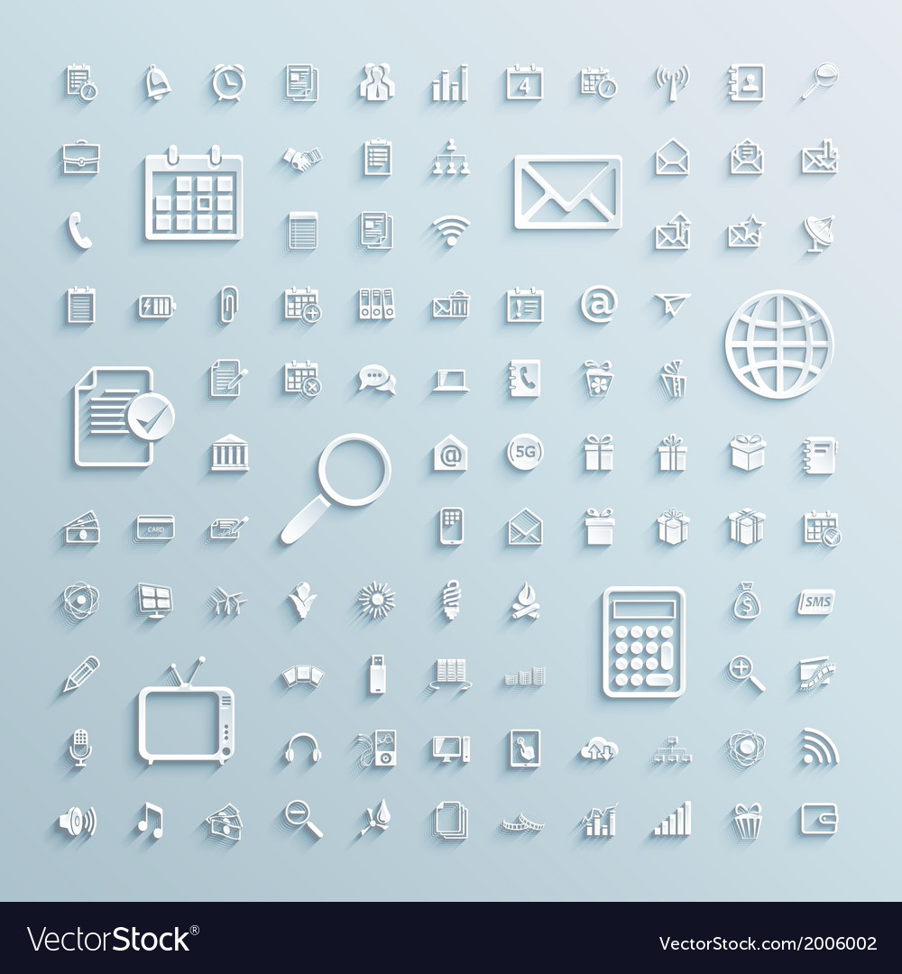 Paper icons set of finance events office internet vector | Price: 1 Credit (USD $1)